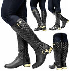 Ladies Calf Knee High Zip Up Leather Golden Buckle Style Warm Women Boots Shoes