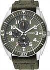 Citizen Eco-Drive Military Green Multi Dial 100m Canvas Watch AP4011-01W