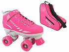 New Epic 2015 Galaxy Neon Pink Girls Ladies Quad Roller Speed Skate + Bag Bundle