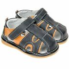 Boys Toddler Childrens Kids Real Leather Squeaky Shoes Sandals Black & Orange