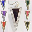 V-Shaped 1.75 inch Dangle CLIP ON or Pierced Fashion Earrings 1 pr Pick Color