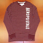 Aeropostale Mens Shirt Thermal L/S Embellished T Striped Red Shirt V097