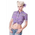 Hell Bunny Monday Lavender Gingham Rockabilly Vintage 50s Summer Cropped Tie Top
