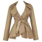 Clearance Womens Ladies New Beige Vintage  Frill Pelum Belted Fitted Jacket