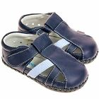 Boys Toddler REAL Leather Soft Sole Baby Shoes Sandals - Navy Blue & Light Blue