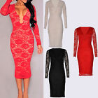 Womens  Red Black Deep Plunge Long Sleeve Sexy Ladies Party Lace Midi Dress