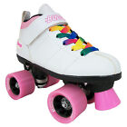 Black Chicago Bullet Quad Speed Skates with Rainbow Laces