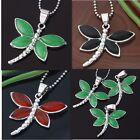 Silver Plated Alloy Gemstone Agate Malaysia Jade Dragonfly Bail Pendant Necalace
