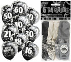 "6 Black Glitz 12"" Latex Balloons - Choose From 11 Designs - Party Helium Fill"
