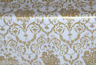 WHITE GOLD DAMASK VINYL OILCLOTH PVC WIPE CLEAN TABLE CLOTH CO click for sizes