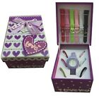 Ladies Girls Christmas Gift Watch Set Mutlicolour Interchangeable Straps -LS2