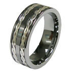 Men's 8mm Tungsten Stripes Inlay Comfort Fit Classic Wedding Ring Band