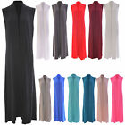 Women Ladies Sleeveless long Length Open Boyfriend Maxi Cardigan Plus Sizes 8-16