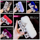 Bling 3D Luxury beads crystal Fox Rabbit Fur case cover for Samsung Galaxy Phone