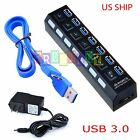 Black 7 Port USB 3.0 Hub On Off Switches + AC Power Adapter Cable for PC Laptop