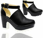 Ladies Women Cut Out Chunky Cleated Platform Sole Sandals Boots Shoes Size