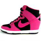 NIKE WMNS DUNK SKY HI ESSENTIAL Wedge Sneakers 644877-010 BLACK-FIREBERRY