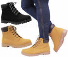 Ladies Womens Casual Flat Heel Lace Up Grip Winter Combat Biker Ankle Boots Size