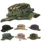 MENS ARMY STYLE BOONIE BUSH HAT CHINSTRAP CAMOUFLAGE RIPSTOP COTTON FISHING