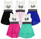 Girls Chiffon Sleeveless Hi/Lo Summer Fashion Dress & Necklace 3-12 Years NEW