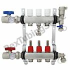 2 - 12 Branch Sizes: PEX Radiant Floor Heating Manifold Set - Stainless Steel <br/> Complete Selection. Adapters Included. Free Shipping.