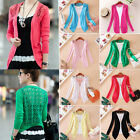Chic Women's Candy Color Crochet Knitwear Lace Cardigan Blouse Tops Coat Sweater