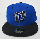 Washington Nationals Blue On Black All Sizes Fitted Cap Hat by New Era