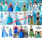 Kids Girls Dresses Elsa Frozen Costume Princess Anna Party Dresses Free Crown