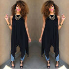 Summer Ladies Sleeveless Loose Long Top Blouse Clubwear Casual Pleated Dress