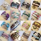 Women Men Cute Leather Wrap Bangle Frendship Heart Cuff Infinity Charm Bracelet