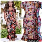 Womens Floral Print Formal Bridesmaid Floral PinUp Mermaid Midi Vintage Dresses