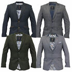 Mens Blazer Formal Coat Herringbone Checked Smart Suit Jacket Cavani Designer