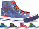 Ladies Canvas Lace Up Hi Tops Flat Women Trainers Shoes Pumps Plimsolls Size 3-8