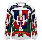 Dominican Coat of Arms Sublimated Men's Long Sleeve T-Shirt S,M,L,XL,2XL,3XL