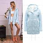 Ladies Baby Blue Festival Mac Pvc Waterproof Plain Long Rain Coat Womens Jacket