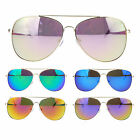 Silver Metal Wire Rim Trendy Color Mirror Lens Classic Aviator Sunglasses