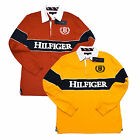 Tommy Hilfiger Polo Shirt Long Sleeve Rugby Graphic Orange Yellow Logo V208