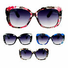 Womens Ink Blot Marble Plastic Thick Rectangular Butterfly Sunglasses