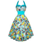 Womens Green Tropical Rockabilly 50s Vintage Pinup Party Prom Swing Dress