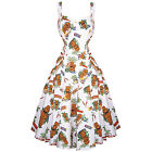 Womens White Tiki Tropic Rockabilly 50s Vintage Pinup Party Summer Sun Dress