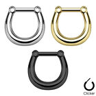 1 Septum Plain Clicker Nose Ring Steel 16g -  Choose Gold  Silver Black  #CK1