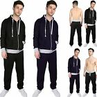 Mens Designer Contrast Rib Hooded Jogging Tracksuit Bottoms Sweatshirt Fleece