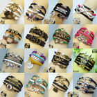 Fashion Women Jewelry Lots Style Leather Infinity Cuff Bangle Wrap Bracelet HOT