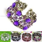 Vintag Bronze Alloy Resin Rhinestone Flower Faceted Coin Beads Bracelet Bangle