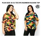 LADIES PLUS SIZE 18-28 COLOURFUL RAINBOW TIE DYE PRINT TOP T-SHIRT FLEECE BLOUSE