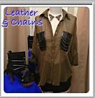 Rehab NWT Sz S M - Olive Chiffon Blouse Leather Chain Detail Oversized Top Shirt