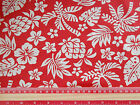 Red Hawaiian Tropical  Fabric / material 100% cotton poplin 112cm wide