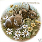 A31 ~ Bunnies in Flowers Ceramic Decals, 4 sizes to choose from, Rabbits, Baby image