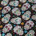 "Good Quality 1/2 yard by the yard black Skulls 100% Cotton Fabric 43"" TY"