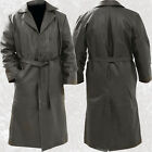 Mens Black Solid Buffalo Leather Long Trench Coat Duster Double Breasted Belted